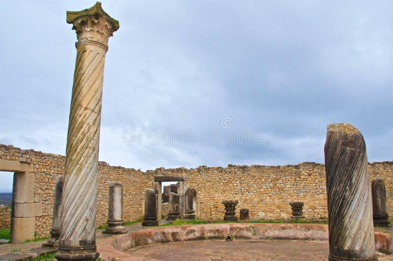 摩洛哥梅克内斯沃卢比利斯遗址戈尔迪翁宫遗址 免版税库存照片