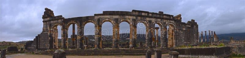 摩洛哥梅克内斯的Volubilis遗址大教堂全景 图库摄影