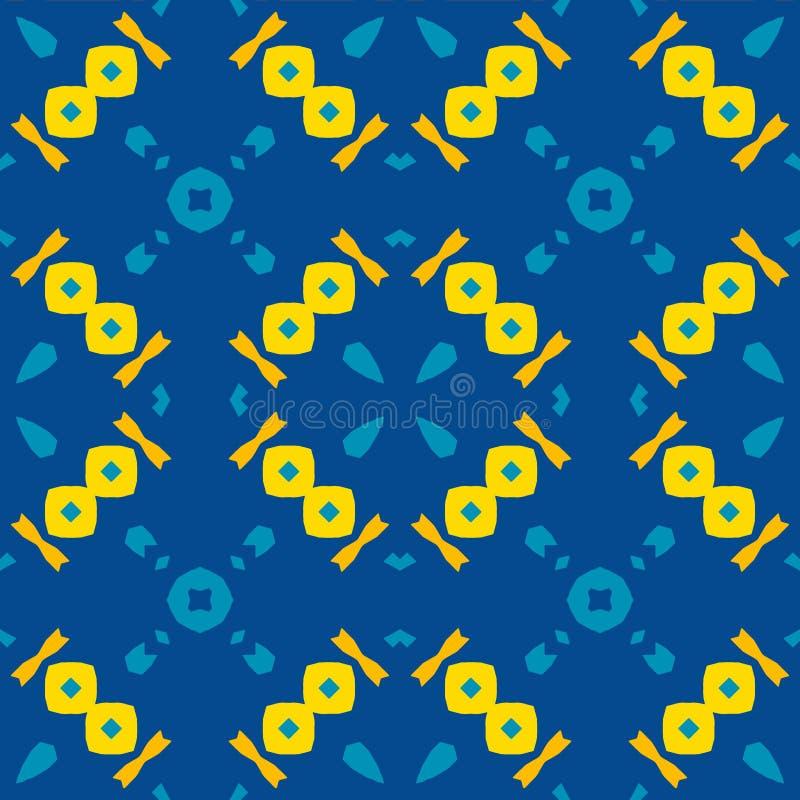 摩洛哥瓦片-无缝的样式,蓝色背景 库存例证