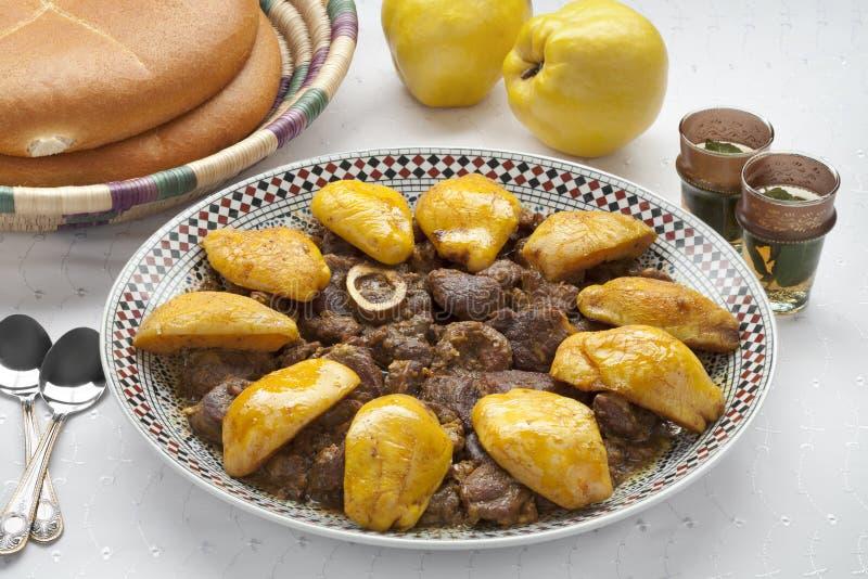 摩洛哥盘用肉和Safarjal 免版税库存照片