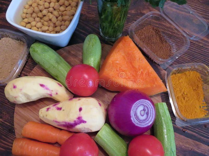 摩洛哥素食蒸丸子的成份 库存图片