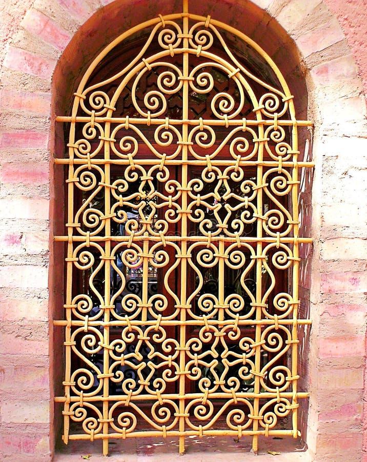 摩洛哥蔓藤花纹窗口,马拉喀什 库存图片