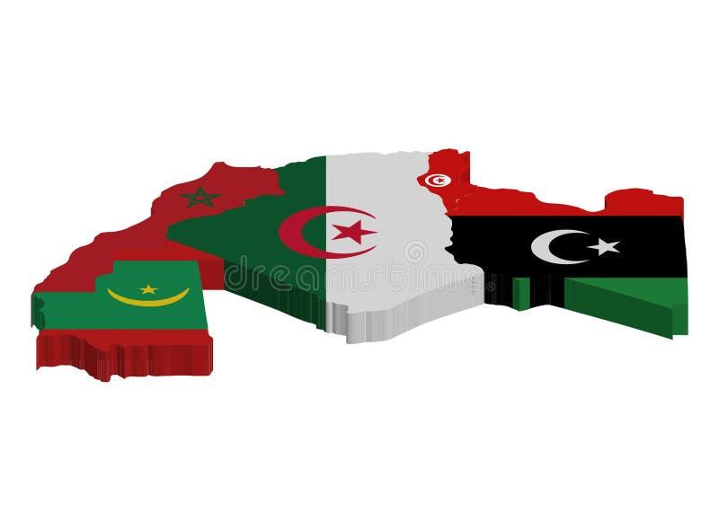 摩洛哥阿尔及利亚突尼斯3D的地图和旗子 皇族释放例证