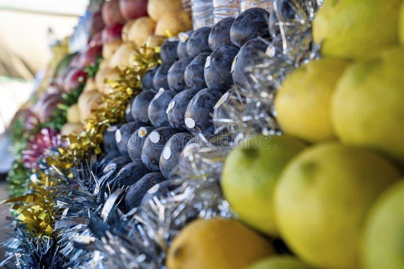 摩洛哥马拉喀什市场水果品种 免版税图库摄影