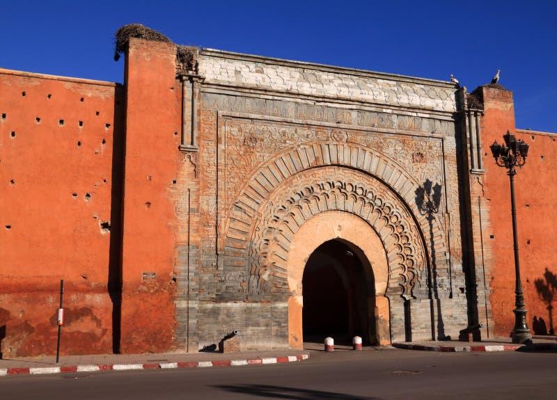 摩洛哥马拉喀什Bab Agnaou麦地那门 免版税库存图片