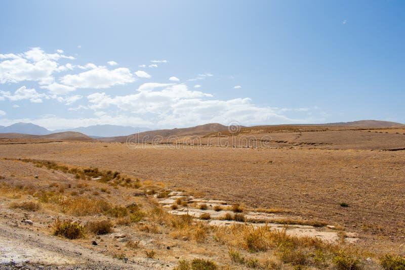 摩洛哥高地图山自然景观美 黄褐绿的草地与山丘对抗 免版税库存照片