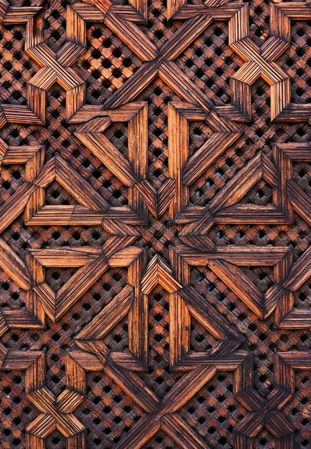 摩洛哥,菲斯,中世纪伊斯兰教的木盘区 免版税库存照片