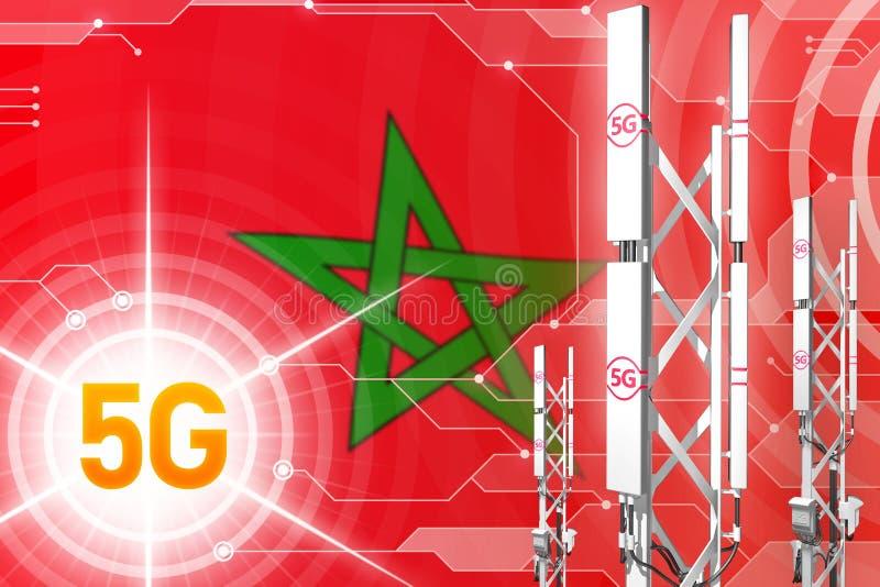 摩洛哥5G工业例证、巨大的多孔的网络帆柱或者塔在数字背景与旗子- 3D例证 库存例证