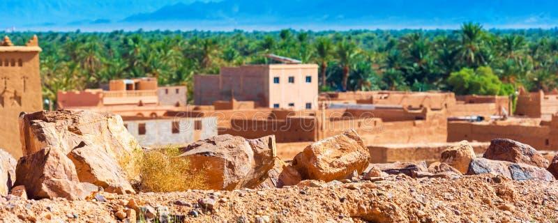摩洛哥Zagora市背景的石头特写 有选择性聚焦 免版税库存图片