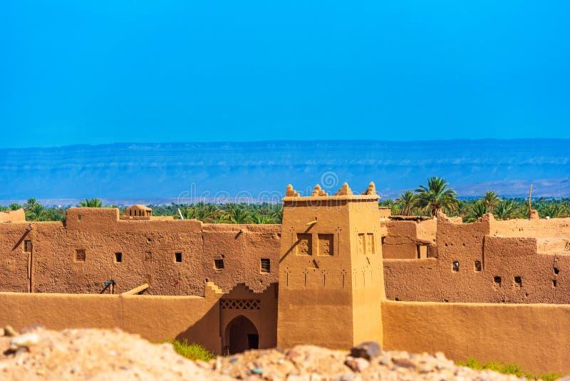 摩洛哥Zagora的Kasbah Taourirt外墙 复制文本的空间 免版税库存照片