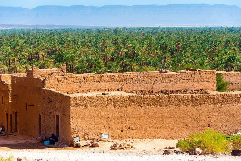摩洛哥Zagora的Kasbah Taourirt外墙 有选择性聚焦 免版税库存照片
