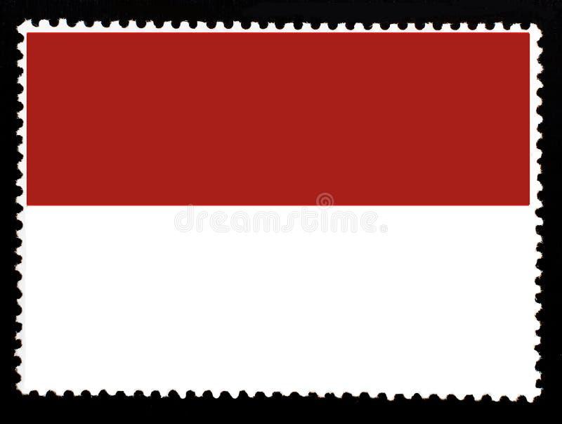 摩纳哥例证国旗  摩纳哥的旗子的正式颜色和比例 在黑backg隔绝的老邮票 皇族释放例证
