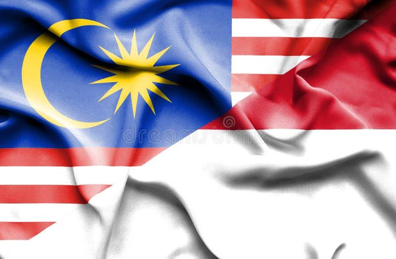 摩纳哥和马来西亚的挥动的旗子 向量例证