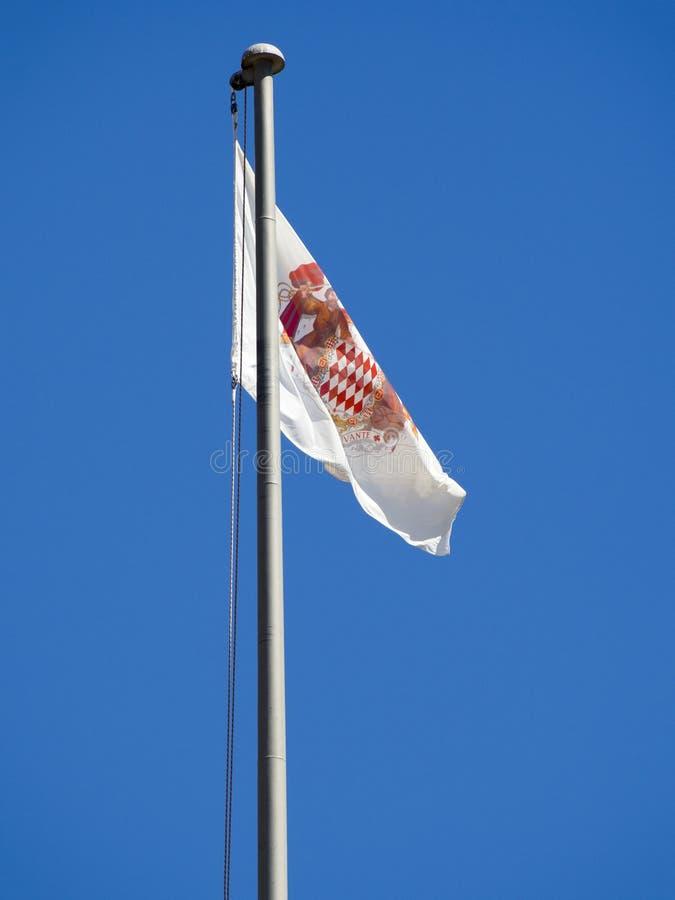 摩纳哥徽章旗子 免版税库存照片