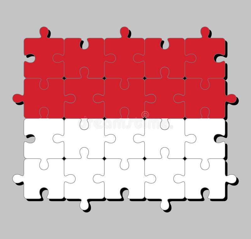 摩纳哥旗子拼图在两条相等的水平的带,红顶和白色底部的 库存例证