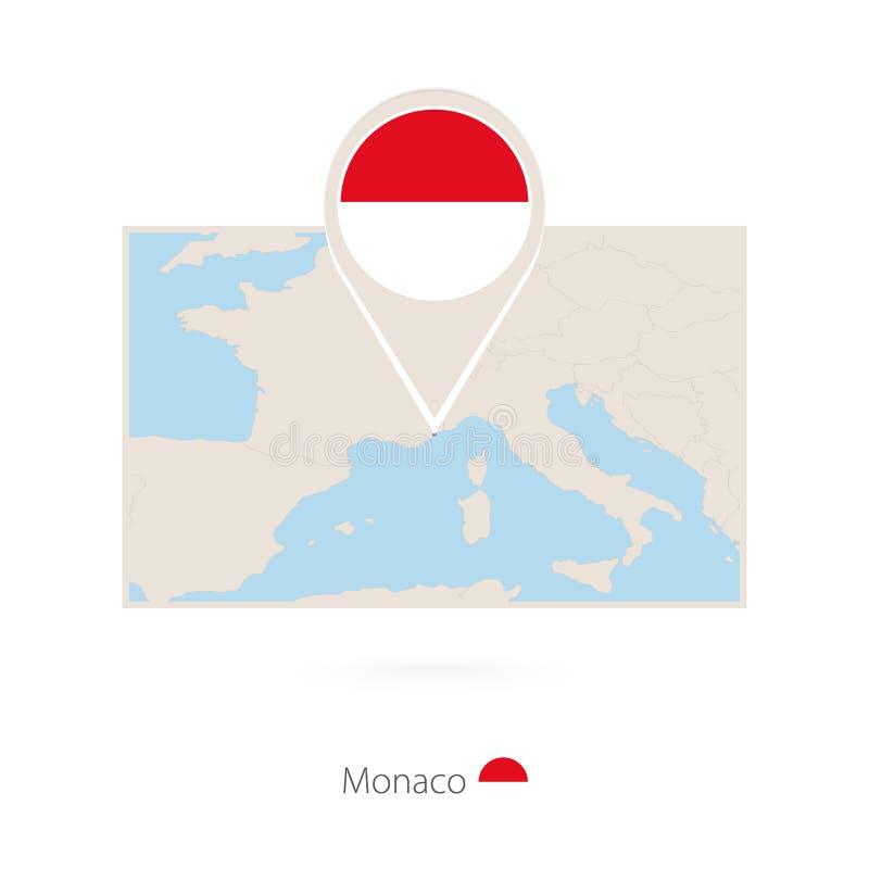 摩纳哥的长方形地图有摩纳哥的别针象的 皇族释放例证