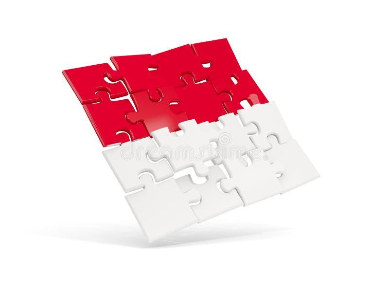 摩纳哥的难题旗子在白色隔绝了 皇族释放例证