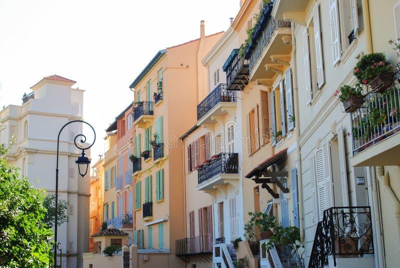 摩纳哥韦莱五颜六色的修造的建筑学城市蒙特卡洛,摩纳哥 库存图片