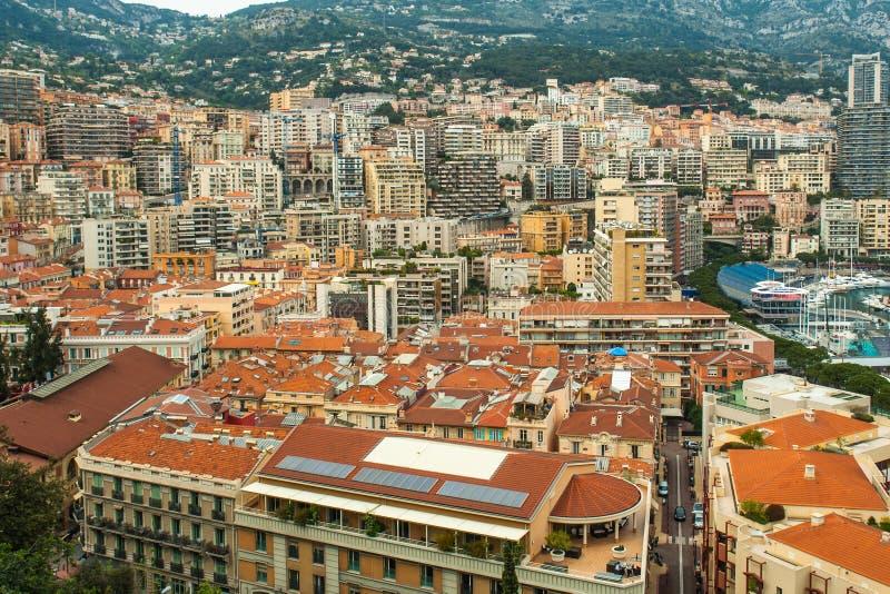 摩纳哥,蒙地卡罗全景城市 库存图片