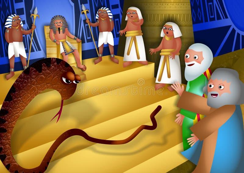 摩西和亚伦在法老王前 库存例证