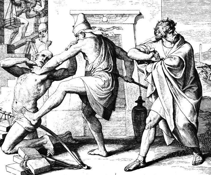 摩西杀害埃及人 免版税库存照片