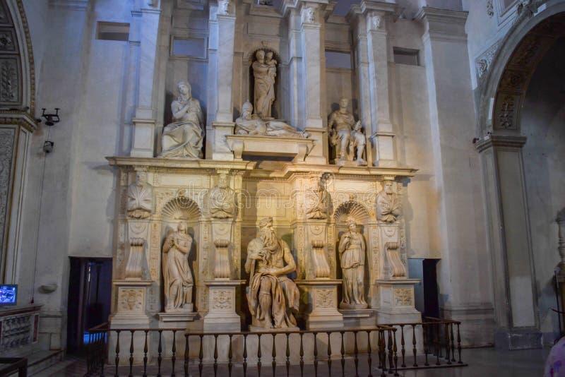 摩西雕象米开朗基罗在圣彼得罗在Vincoli Churc 库存照片