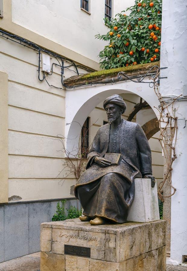 摩西Maimonides,科多巴,西班牙雕象  库存图片