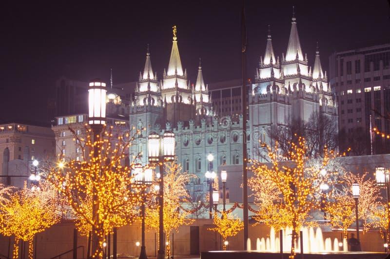摩门教堂在晚上在盐湖城犹他 免版税图库摄影