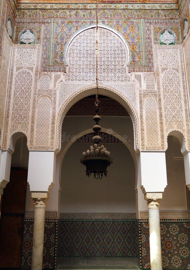 摩洛哥、梅克内斯、伊斯兰教的曲拱和灰泥 库存图片