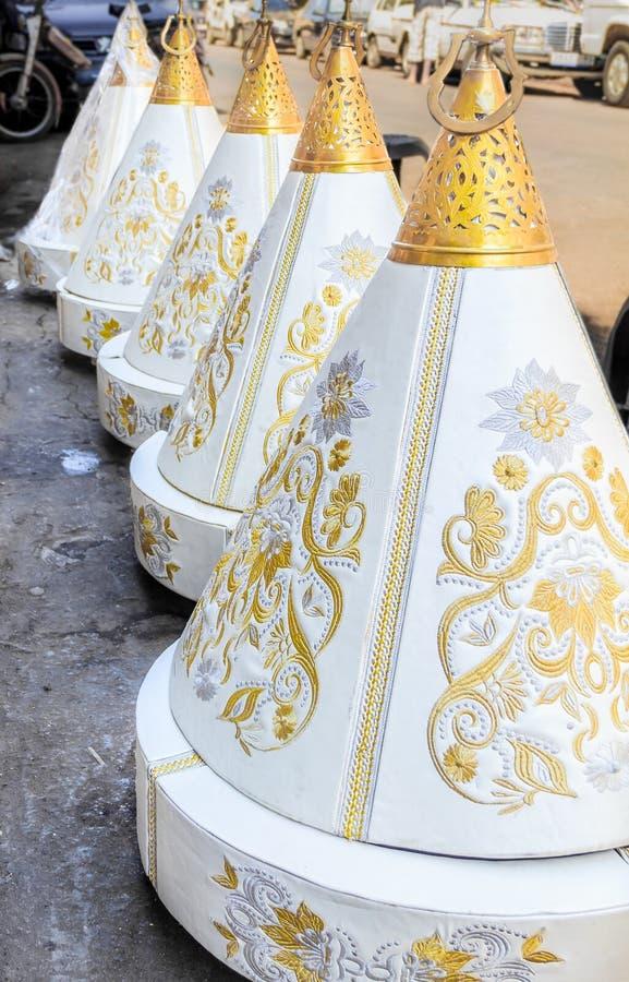 摩洛哥人Tyafer婚礼的礼物容器 库存图片