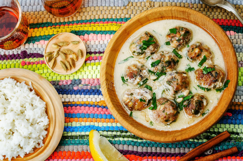 摩洛哥柠檬豆蔻果实丸子用米 免版税库存照片