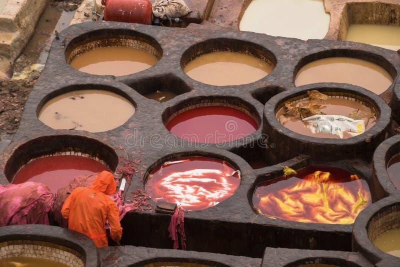 摩洛哥的著名Chouwara皮革厂 免版税库存照片