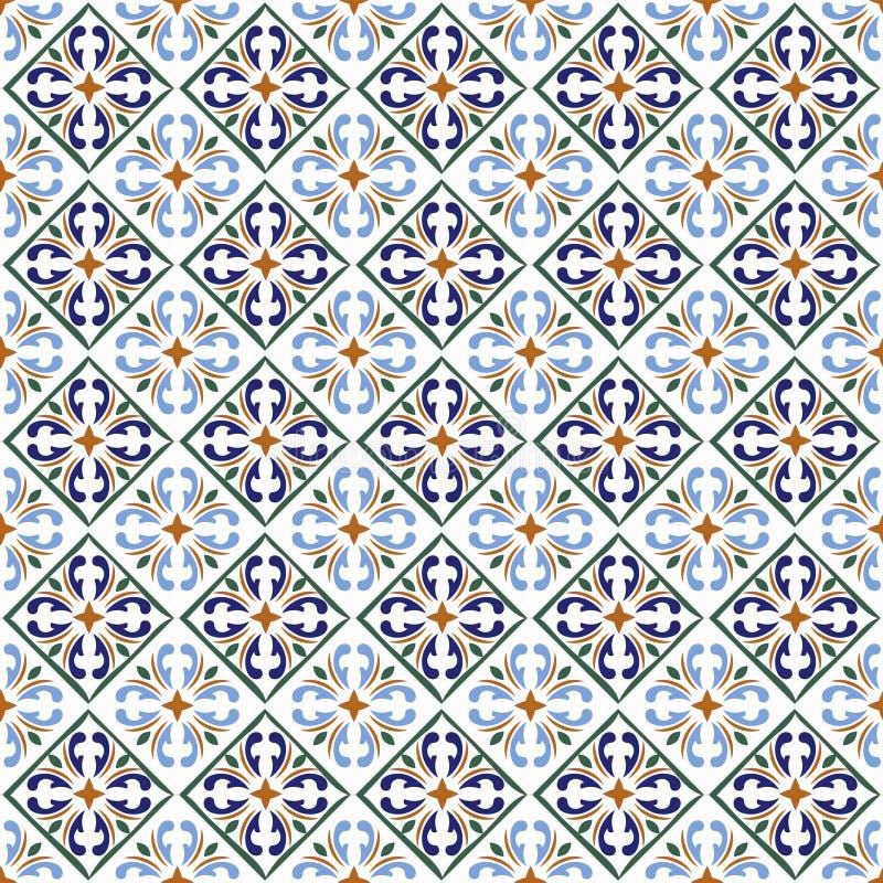 摩洛哥蓝色瓦片打印或西班牙陶瓷表面传染媒介样式纹理 库存例证