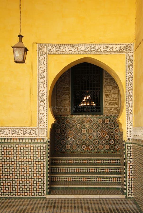 摩洛哥,梅克内斯,伊斯兰教的曲拱 库存图片