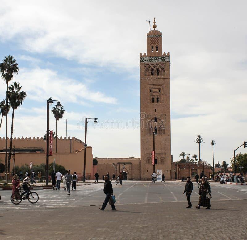 摩洛哥 Koutoubia清真寺在马拉喀什 库存照片