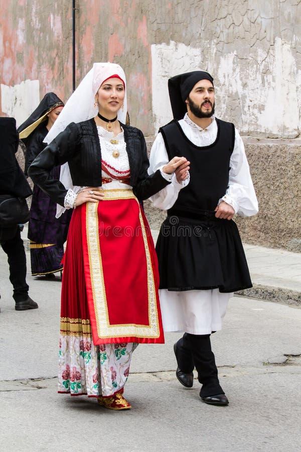 撒丁岛服装游行 免版税库存照片