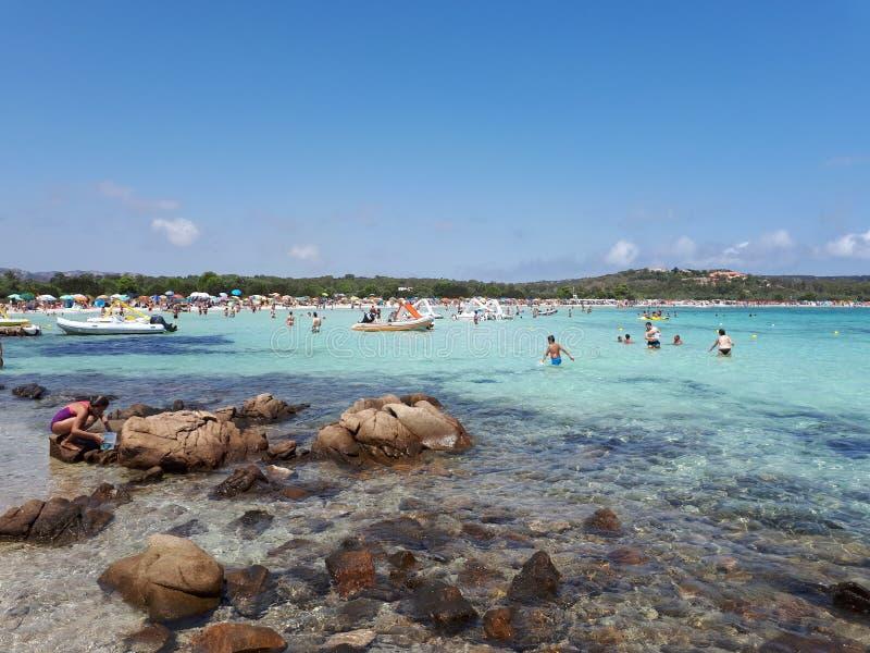 撒丁岛海滩用绿松石水 图库摄影