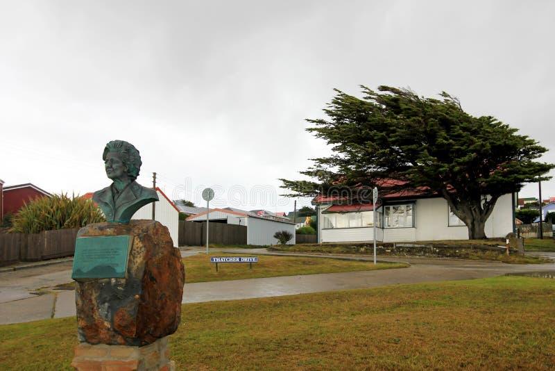 撒切尔推进纪念碑,斯坦利港,福克兰群岛 免版税库存图片