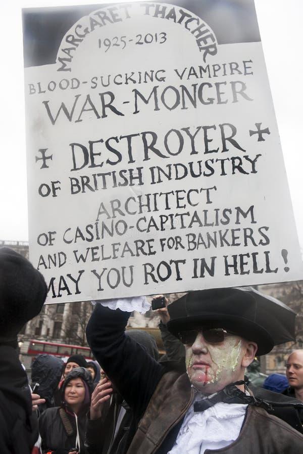 撒切尔死党,特拉法加广场,伦敦 库存图片