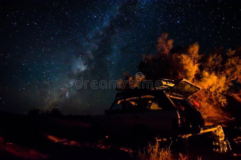 撒哈拉大沙漠,摩洛哥- 2013年10月9日 野营在milion旅馆星下 库存图片