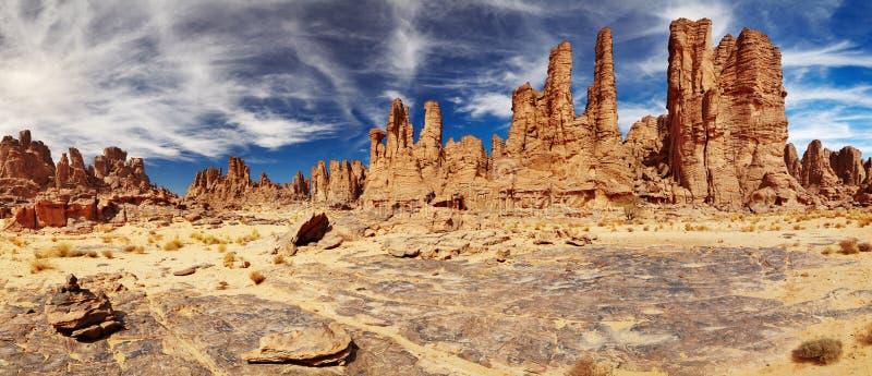 撒哈拉大沙漠, Tassili N'Ajjer,阿尔及利亚 免版税库存图片