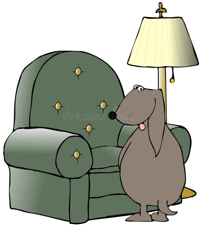 撒尿椅子的狗 皇族释放例证
