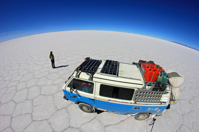 撒拉族的de Uyuni,盐湖,玻利维亚范 图库摄影