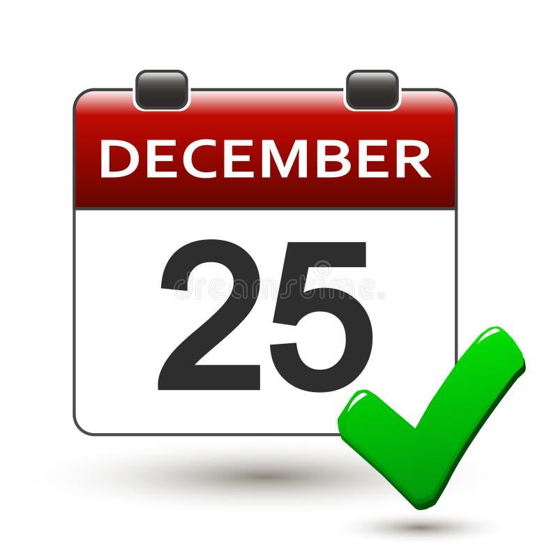 撕掉与标题12月25日的日历 库存例证