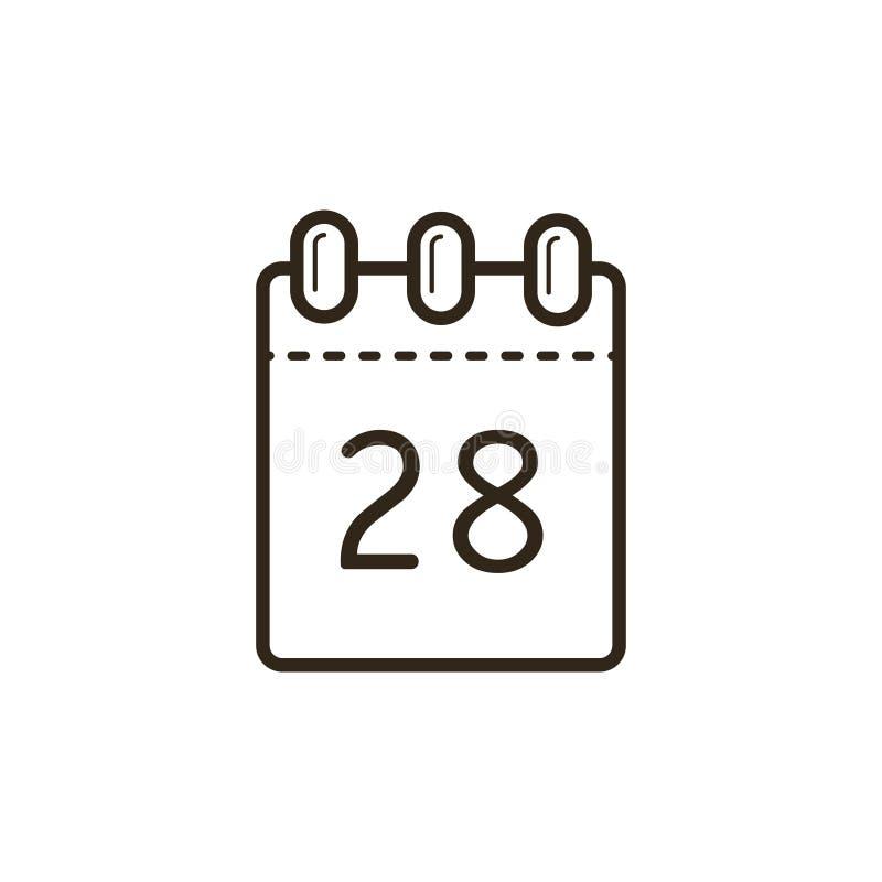 撕掉日历的线艺术象与第二十八的在板料 库存例证