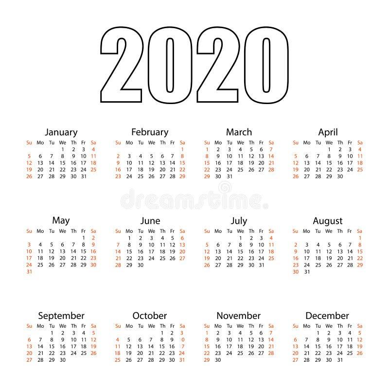 ??2020? 撕掉日历 个人组织者 o r 库存例证
