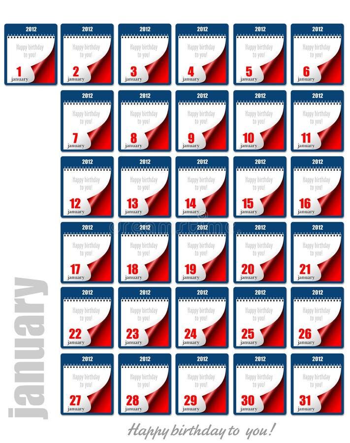 撕掉日历2012年 每天1月 E 皇族释放例证