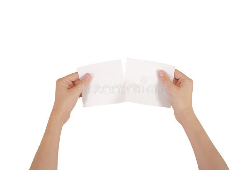 撕毁一张纸在半空白的白色飞行物brochur的手 库存照片