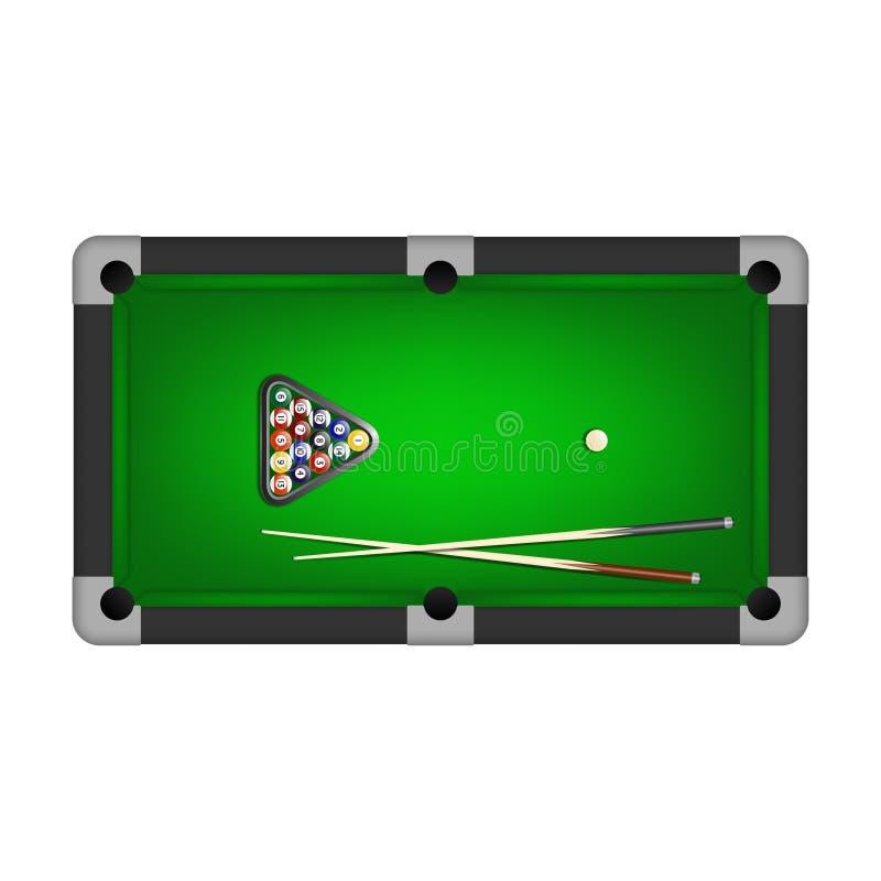 撞球、三角和两个暗示在撞球台上 也corel凹道例证向量 皇族释放例证