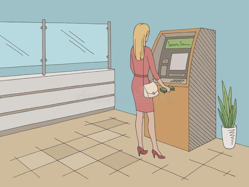 撤出从ATM的妇女现金在银行内部图表颜色剪影例证传染媒介 库存例证